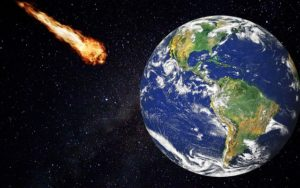 Image shows an asteroid which is a possible cause of our human extinction.
