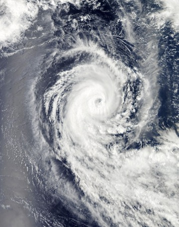 A typhoon builds into a massive storm.
